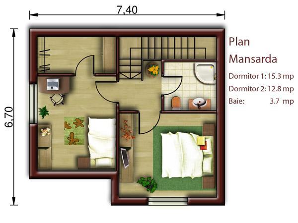 Vila mini proiect de casa cu mansarda catalog de case for Planuri de case