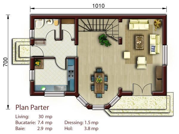 Vila aston proiect de casa cu mansarda catalog de case for Proiect casa 2 camere living baie si bucatarie